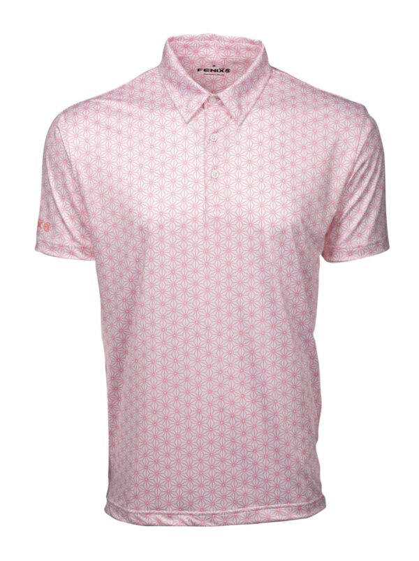 Pink golf shirt with pattern