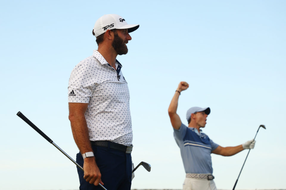 Rory McIlroy and Dustin Johnson celebrate winning covid-19 charity skins match.