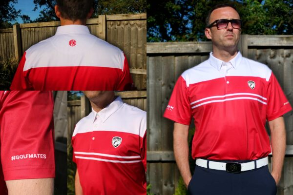 A male model displaying dri-fit golf polo shirts for Fenix Xcell