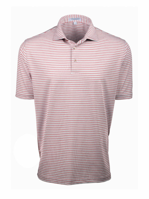 Pinstripe Polo Shirt Red and White