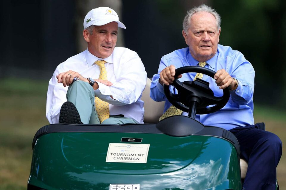PGA Tour commissioner Jay Monahan and Jack Nicklaus during the first round of the Memorial
