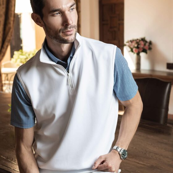 Model posing in Fenix XCell PE polo with vest