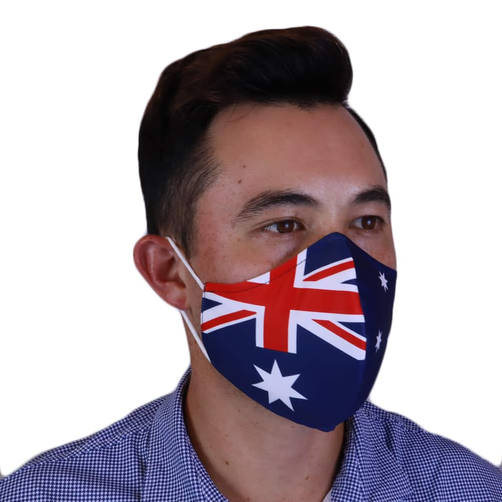 Man wearing Fenix XCell Australia Face Mask right side view