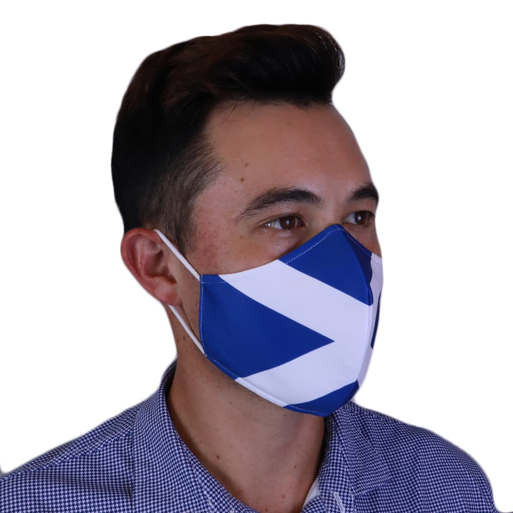 Man Wearing Fenix XCell Scotland Face Mask right side view