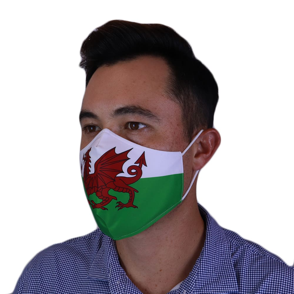 Man wearing Fenix XCell Wales Face Mask left side view