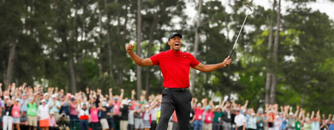 Tiger Woods celebrating US Masters Win