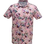Men's Tropical Polo Shirt - Butterfly Pink Image