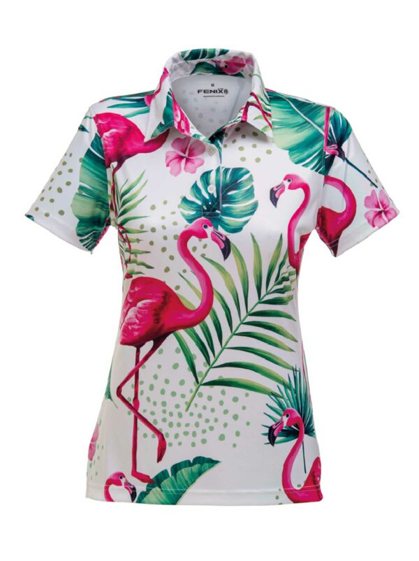 Flamingo white ladies golf polo shirt