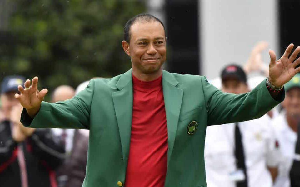 Toger Woods wearing the Masters green jacker