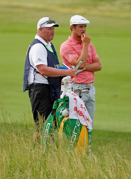 Tim Tucker caddying for Bryson