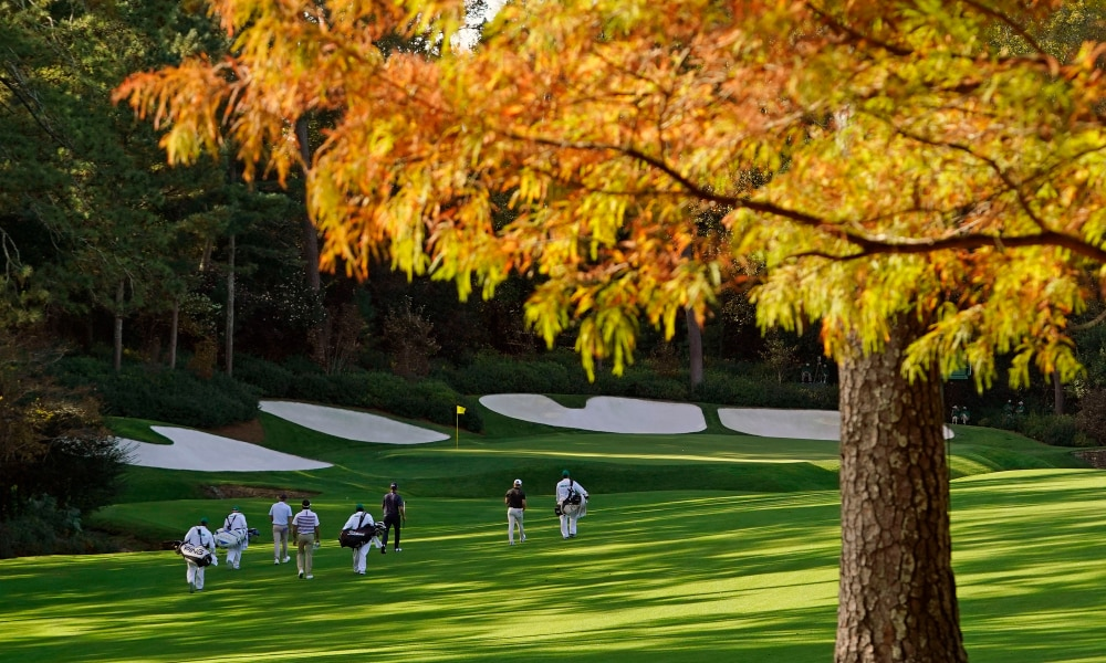 golfers walking up to the 12th green at Augusta National in Autumn 2020