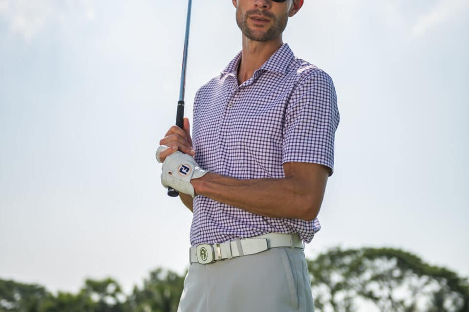 Purple and White Checkered Golf Polo