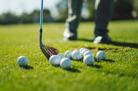 golf wedge and balls for short game practise