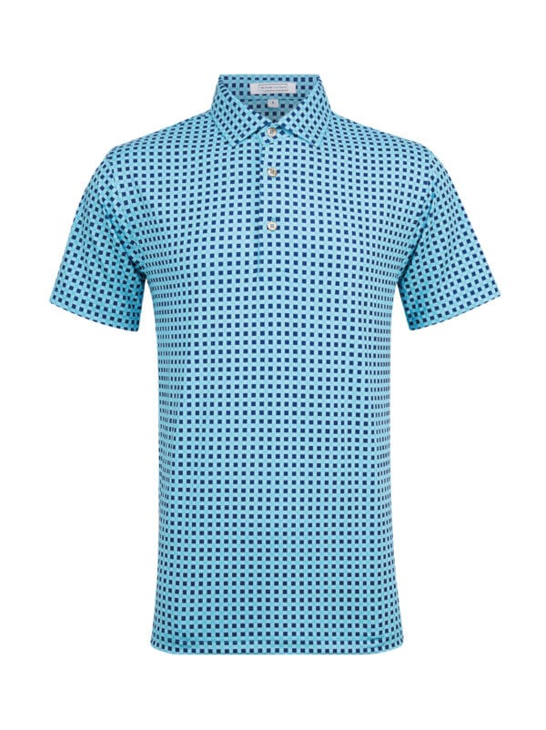 Greenwich Sky Blue Navy Front golf polo shirt