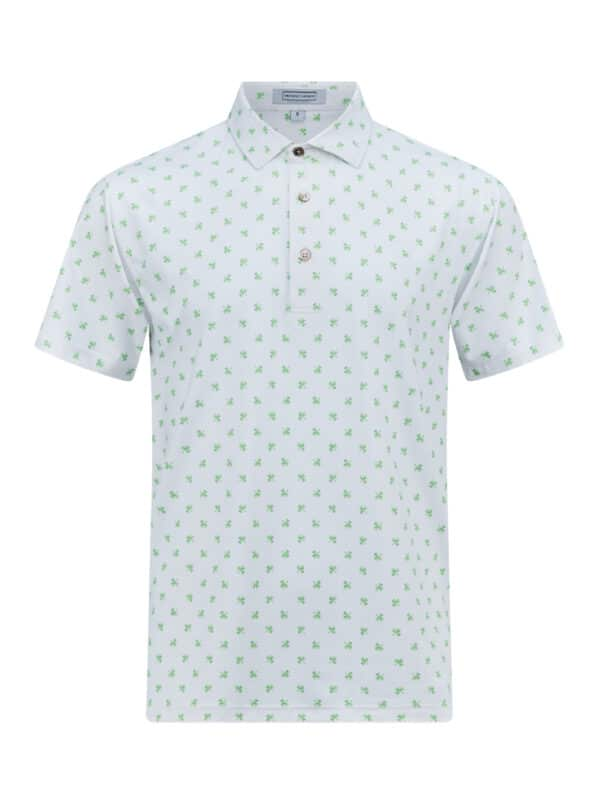 Scituate White Paradise Green Front golf polo shirt